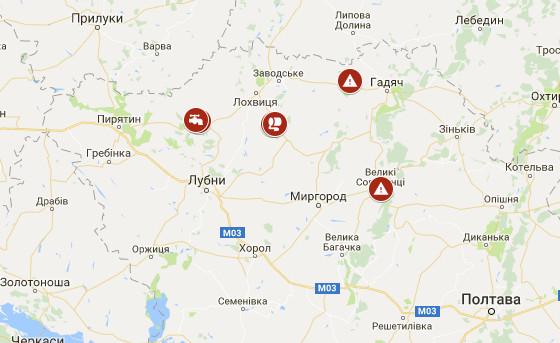 Мапа проблемних ділянок Полтавської області